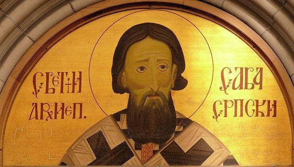 lik svetog save na ulazu u crkvu
