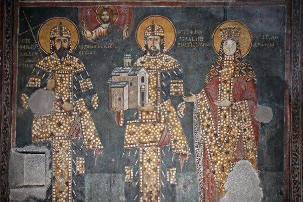 Kralj Dragutin freska crkva svetog Ahilija.